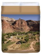 The Indian Village Of Supai Sits Duvet Cover
