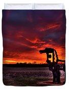 The Iron Horse Red Sky Sunset Duvet Cover