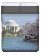 The Jefferson Memorial With Cherry Blossoms And A Lot Of People Duvet Cover