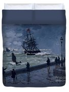The Jetty At Le Havre In Bad Weather Duvet Cover