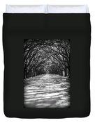 Live Oaks Lane With Shadows - Black And White Duvet Cover