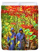 The Joys Of Autumn Camping - Paint Duvet Cover