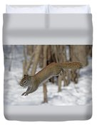The Jumping American Red Squirrel Duvet Cover