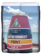 The Key West Florida Buoy Sign Marking The Southernmost Point On Duvet Cover