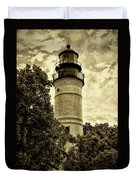 The Key West Lighthouse In Sepia Duvet Cover