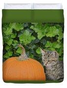 The Kitten And The Pumpkin Duvet Cover
