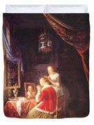 The Lady At Her Dressing Table 1667 Duvet Cover