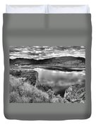 The Lake In Black And White Duvet Cover