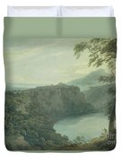 The Lake Of Nemi And The Town Of Genzano Duvet Cover