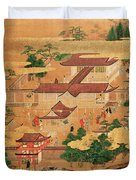 The Life And Pastimes Of The Japanese Court - Tosa School - Edo Period Duvet Cover
