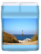 The Lighhouse At Morris Island Charleston Duvet Cover