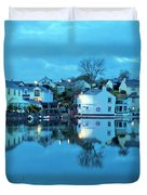 The Lights Come On In Mylor Bridge Duvet Cover
