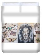 The Lion And The Butterflies Duvet Cover