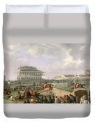 The Liverpool And National Steeplechase At Aintree Duvet Cover