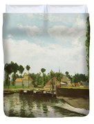 The Lock At Pontoise Duvet Cover