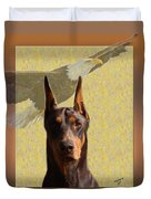 Dobermans..the Look Of The Eagle Duvet Cover