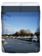 The Macclesfield Canal At Poynton In Winter And Frozen  Cheshire England Duvet Cover