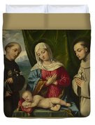 The Madonna And Child With Saints Duvet Cover