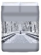 The Mall In Snow Central Park Duvet Cover