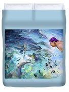 The Man And The Sharks Duvet Cover