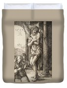 The Man Of Sorrows By The Column With The Virgin And St. John  Duvet Cover
