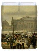 The Market In Antwerp Duvet Cover