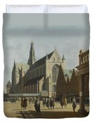 The Market Place And The Grote Kerk At Haarlem Duvet Cover