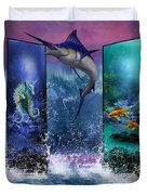 The Marlin And His Sea Friends  Duvet Cover