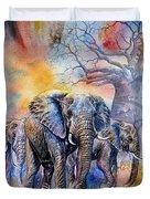The Masai Mara Elephants Duvet Cover