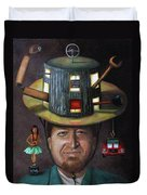 The Mechanic Part Of The Thinking Cap Series Duvet Cover by Leah Saulnier The Painting Maniac