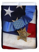 The Medal Of Honor Rests On A Flag Duvet Cover