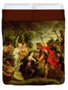 The Meeting Of David And Abigail Duvet Cover