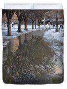 The Mirrored Streets Of Philadelphia In Winter Duvet Cover