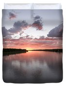 The Missouri River At Sunset Reflects Duvet Cover