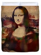 The Mona Lisa Colorful Watercolor Portrait On Worn Canvas Duvet Cover
