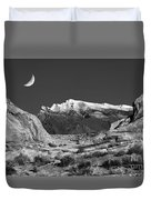 The Moon And The Mountain Range Duvet Cover