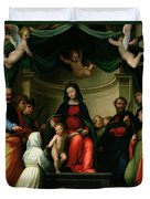 The Mystic Marriage Of St Catherine Of Siena With Saints Duvet Cover