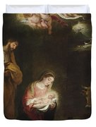 The Nativity With The Annunciation To The Shepherds Beyond Duvet Cover