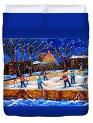 The Neighborhood Hockey Rink Duvet Cover