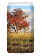 Red Oak Under November Skies Duvet Cover by Lori Frisch