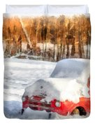 The Old Farm Truck In The Snow Duvet Cover