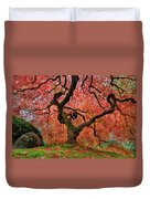 The Old Japanese Maple Tree In Autumn Duvet Cover
