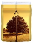 The Old Lantern In The Park Duvet Cover