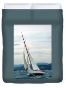 The Old Sailing Yacht At Competitions In The Gulf Of Saint Trope Duvet Cover