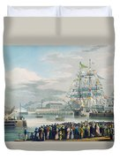 The Opening Of Saint Katharine Docks Duvet Cover