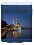 The Ortakoy Mosque And Bosphorus Bridge At Dusk Duvet Cover