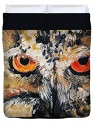 The Owl Of Lakshmi Textured Painting_0476 Duvet Cover