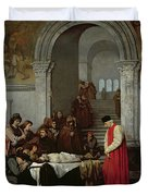 The Painter Luca Signorelli Standing By The Body Of His Rival's Dead Son Duvet Cover