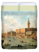 The Palace And The Molo From The Basin Of San Marco Duvet Cover