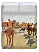 The Parade, Digitally Enhanced Highest Resolution,race Horses In Front Of The Tribune, Edgar Degas Duvet Cover